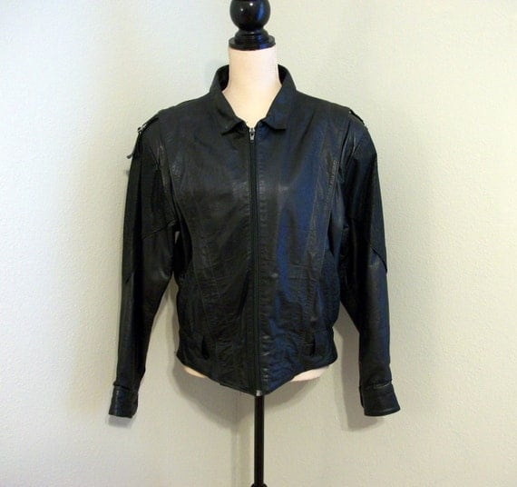 vintage black leather jacket rocker jacket by mintjulepshoppe