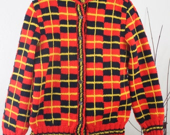 Vintage Sweater Plaid  Childrens Sweater Hand Knit