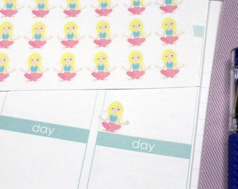 30 Blonde Yoga Girl Stickers! Perfect for your Erin Condren Life Planner, Filofax, Kikkik, Plum Paper & other planner/agenda! #SQ00521