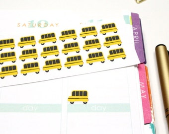 30 Yellow School Bus Stickers! Perfect for your Erin Condren Life Planner, Filofax, Plum Paper & other planner or scrapbooking! #SQ00553