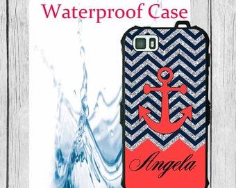 Waterproof iPhone 6 Case Chevron Blue Anchor Monogram iPhone Case iPhone 5C Case Personalized iPhone 5  iPhone 5S Case Heavy Duty