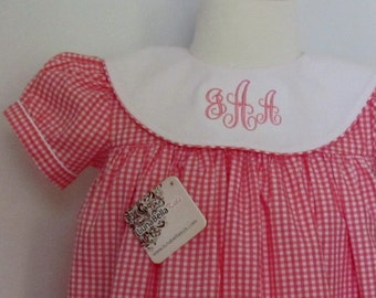 Sale Monogrammed Dress, Personalized Dress, Birthday Monogram Dress, Pink Gigham Monogram Dress, Girls Monogram Dress FREE Personalization