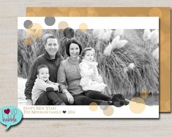 Happy New Year's Photo Card, Gold Bokeh Polka Dots, Black and Gold PRINTABLE DIGITAL FILE - 5x7