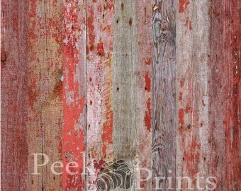 5ft.x5ft. Red Barn Wood Vinyl Backdrop WOOD FLOORDROP