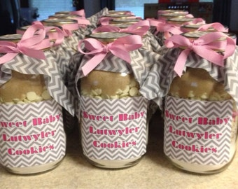 Pink & Gray Chevron Oatmeal Chocolate Chip Mason Jar Cookie Mix - Baby Shower Favor