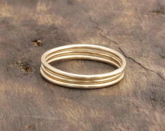 1 mm 3pcs vermeil gold smooth simple band rings , stacking rings