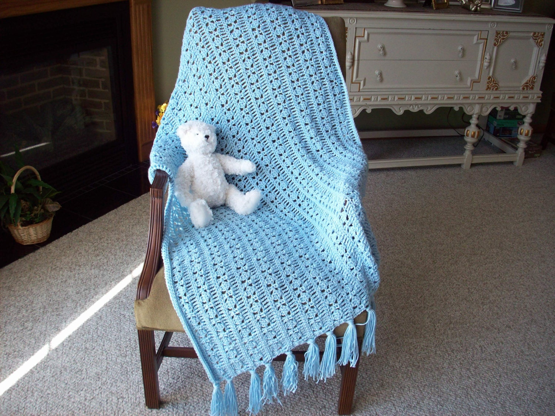 Baby Blanket Crochet Crib Blanket Soft Blue by ...