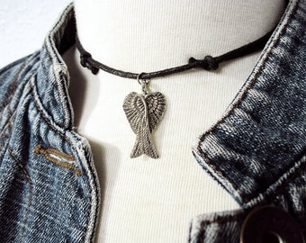 Angel Wing Choker ~ Double Wing Necklace ~ Black Choker ~ Angel Necklace ~ Wing Necklace ~ Choker Necklace