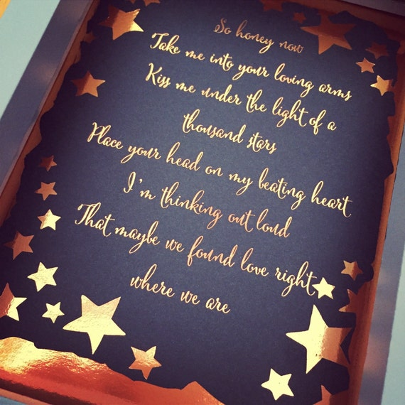 Ed sheeran thinking out loud song lyrics foil by ...