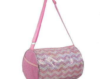 Ready to Ship. Dance Cheer Gymnastics Girls Sequin Chevron Tote Duffel Duffle Bag