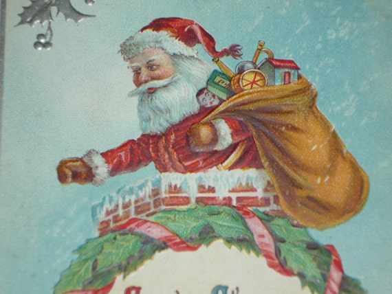 Santa S Bag Of Toys : Santa claus with a bag of toys embossed by krisgoespicken