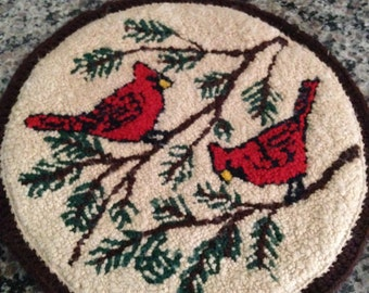 Needlework Hanging of Cardinals