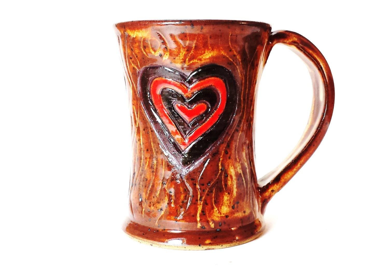 Hand carved ceramic pottery heart mug