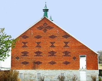 Brick Barn Photograph, Barn Wall Decor, Rustic Barn Wall Art, Barn Photography, Historic Architecture, Rustic Barn Wall Decor, Gift For Him