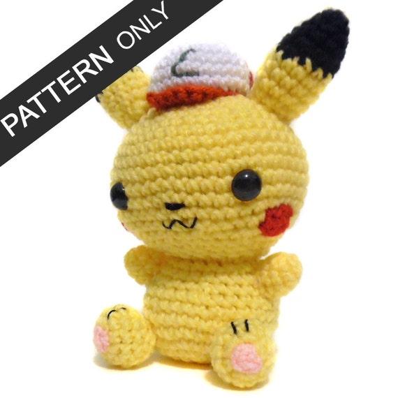 PATTERN Pikachu with Ash Hat Amigurumi Crochet Plush PDF
