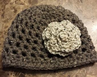 Crochet Flower Beanie Hat