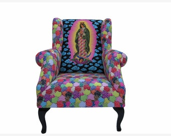 Sessel Mary over East L.A., Rose-Mary-UNIKAT-Retro Stil, Ohrensessel, Our Lady of Guadalupe seat, fauteuil, nojatuoli, stoel, Fåtölj, silla,