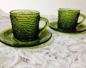 Vintage ribbed avocado green glass teacup and saucer, set of 2