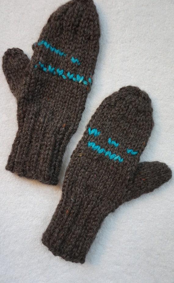 Alpaca Mittens Knitting Pattern : Alpaca Mittens: Adult Bay Black Knitted Mittens with by KBAlpacas