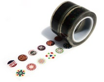 Glass Tapes 014 [Set of 2 Tapes] - Korean Clear Deco Tape - vintage bottle caps, labels, mandala, circles, patterns, scrapbooking, packaging