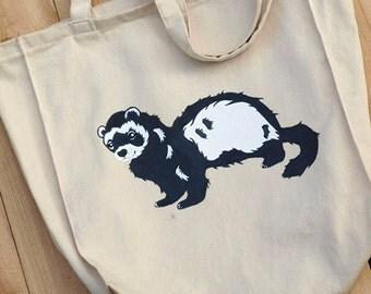 tote bag, Cotton tote bag, Eco bag, friendly eco bag,  tote bag, ferret, ferret tote bag, ferret bag