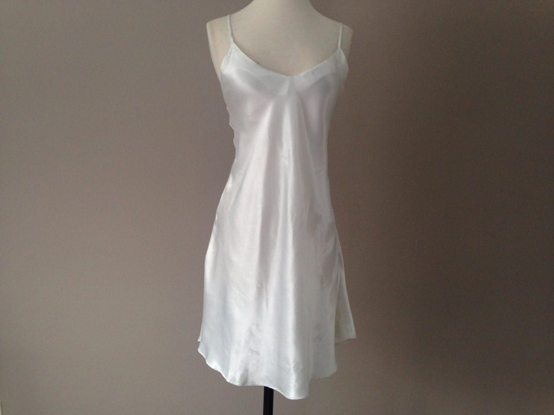 L Satin Chemise Slip Dress Nightie Bridal Lingerie White