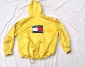 TOMMY HILFIGER Jacket // Yellow Shiny SWAG // Oversized 2X