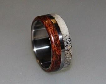 Titanium men ring with deer antler and snakewood inlay