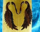 Pair of Brown Swan Wood Earrings -  Fake Gauge made for regular pierced ears - Fake Gauge Hanging Sono Wood *D030