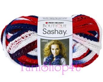 PATRIOTIC Red Heart Boutique yarn Sashay, America, 4th of July, USA, Ruffling Ruffle lace- ribbon yarn- Red White and Blue yarn Fluffy yar