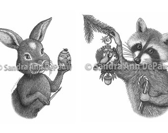 Holiday Animals - Easter Rabbit & Christmas Racoon