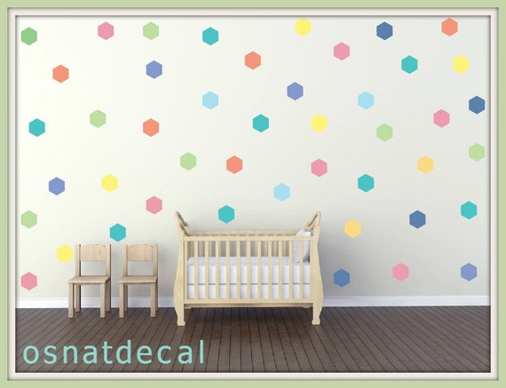 FREE SHIPPING Wall Decal Hexagon Pastel Colors .  Each Kit 59 . Wall Sicker, Wall Art. Nursery Wall decal, Homedecor. Kids Room Wall Decal.