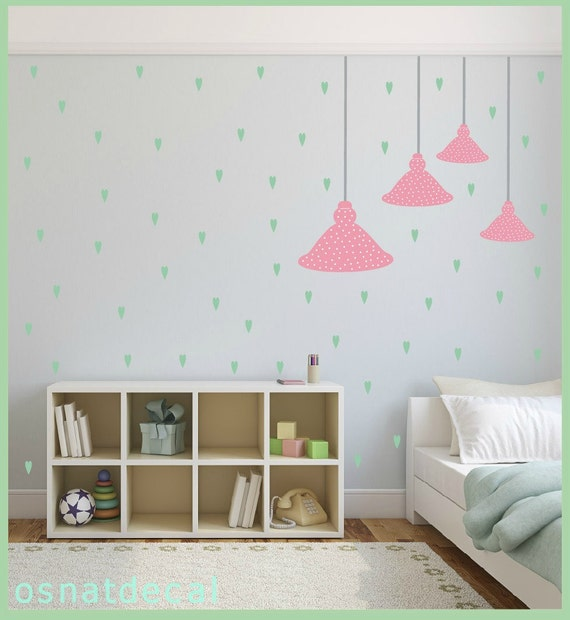 FREE SHIPPING Wall Decal, 4 Ceiling lamps.Differnt Sizes.Pink With White Dot.& 71 Pastel Green Hearts. Nursery Wall Decal. Vinyl Wall Decal.