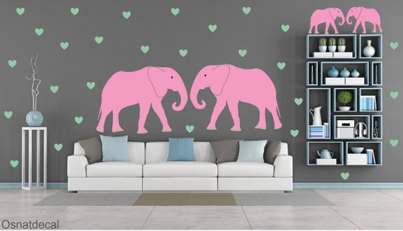 FREE SHIPPING Wall Decal 2 Big Elephants & 2 Small Elephants And 80Green Hearts. Nursery Wall Decal. Vinyl Wall Decal. Kids Wall  Decal