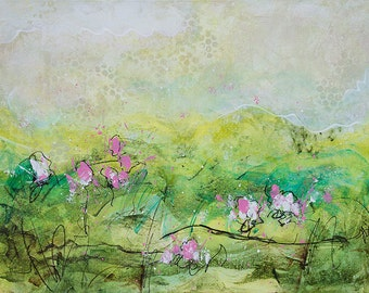 Abstract Acrylic Painting: Enchanted Meadow