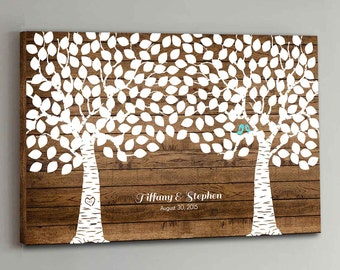 225 Guest CANVAS Wedding Guest Book Wood Two Double Tree Wedding Guestbook Canvas Alternative Guestbook Canvas Wedding Guestbk - Wood design