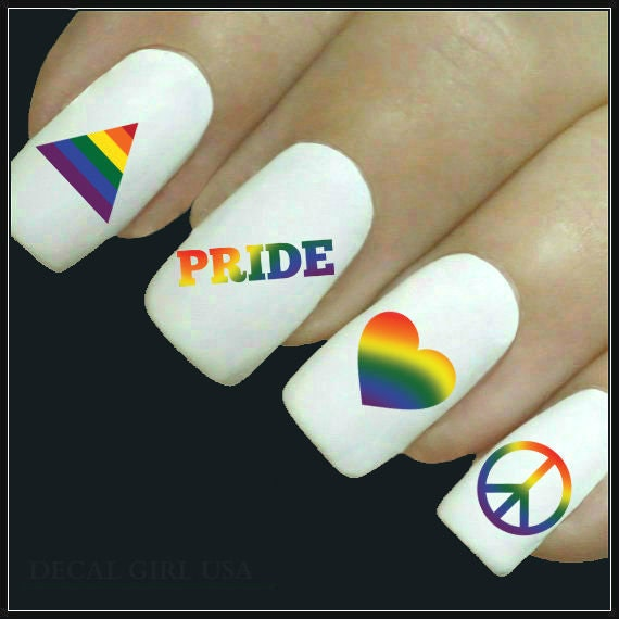 Pride Nail Designs: Nail Decal Pride Nail Art 20 Water Slide Decals Fingernail