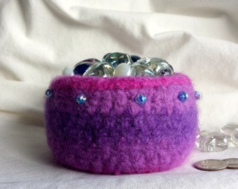 Pink and Purple Felted Bowl with Vintage Beads