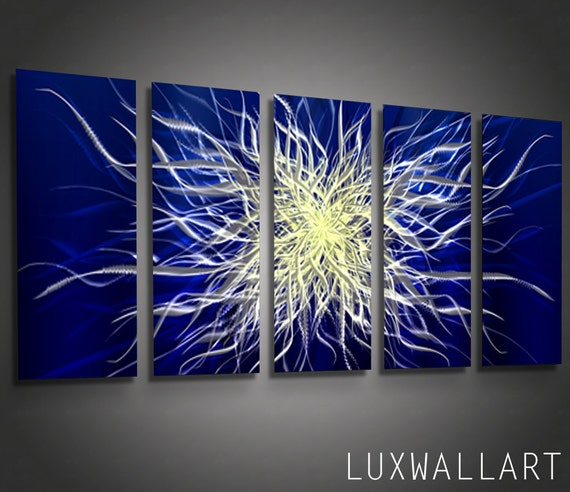 metal wall art home decor sculpture blue extraction