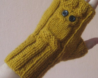 Hand Warmers,Owl Fingerless Gloves,Mustard Yellow Gloves Arm Warmers,Winter Accessories,Handknit Fingerless Gloves,Owl mittens,Owl gloves