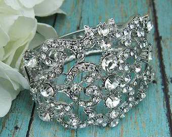 Bridal Cuff bracelet, rhinestone cuff wedding bracelet, rhinestone bangle bracelet, bridal jewelry, wedding accessories, 208910711