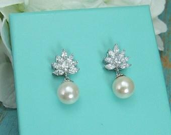 Sparkle cz earrings, pearl bridal earrings, cubic zirconia earrings, wedding jewelry, wedding earrings, bridesmaid jewelry 209905464