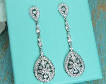 Art Deco earrings, cubic zirconia earrings, art deco wedding earrings, bridal jewelry, wedding earrings, dangle bridal earring