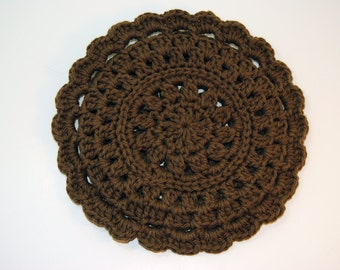 Chocolate Brown Blue Crocheted Cotton Trivet
