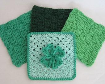 Crochet Green Washcloths Four Leaf Clover Cotton Luck of the Irish