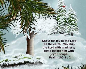 Landscape painting print, Original digital painting, Winter.   A landscape painting with pine trees, snow, and a Psalm!
