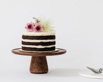 Large Walnut Lipped Cake Stand