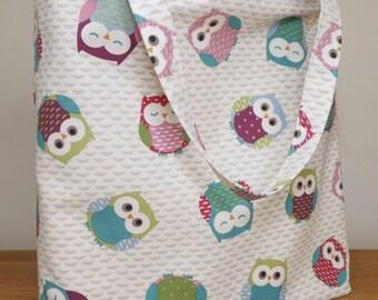 Fabric tote / shopping bag handmade with Owl print fabric.