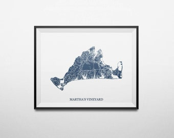 Martha's Vineyard, Massachusetts, Abstract Street Map Print
