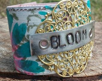 BLOOM handpainted Upcycled Belt Bracelet
